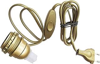 Tibelec 859530 - Portalámparas con cable (adaptador de tipo botella E27 incluye interruptor y clavija) color dorado