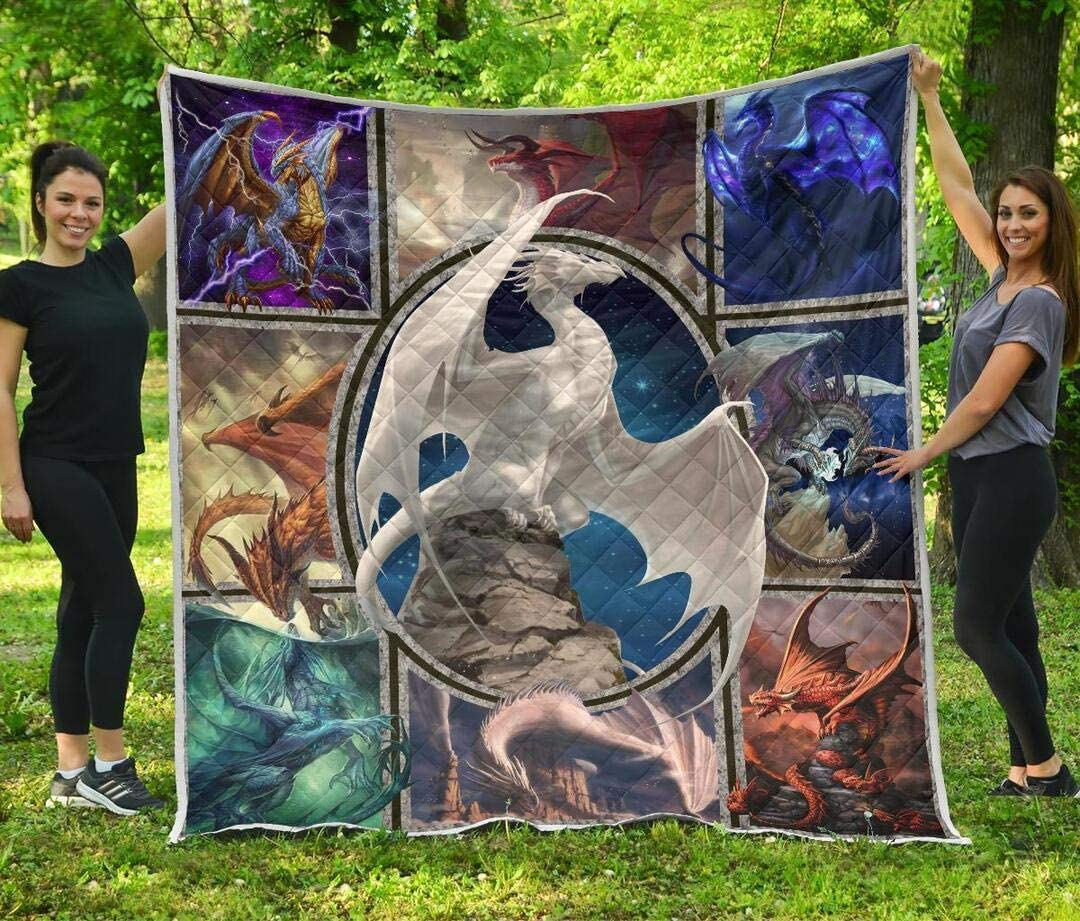Personalized Dragon Quilt Outlet SALE White Finally resale start Blue Dragons Da to Orange