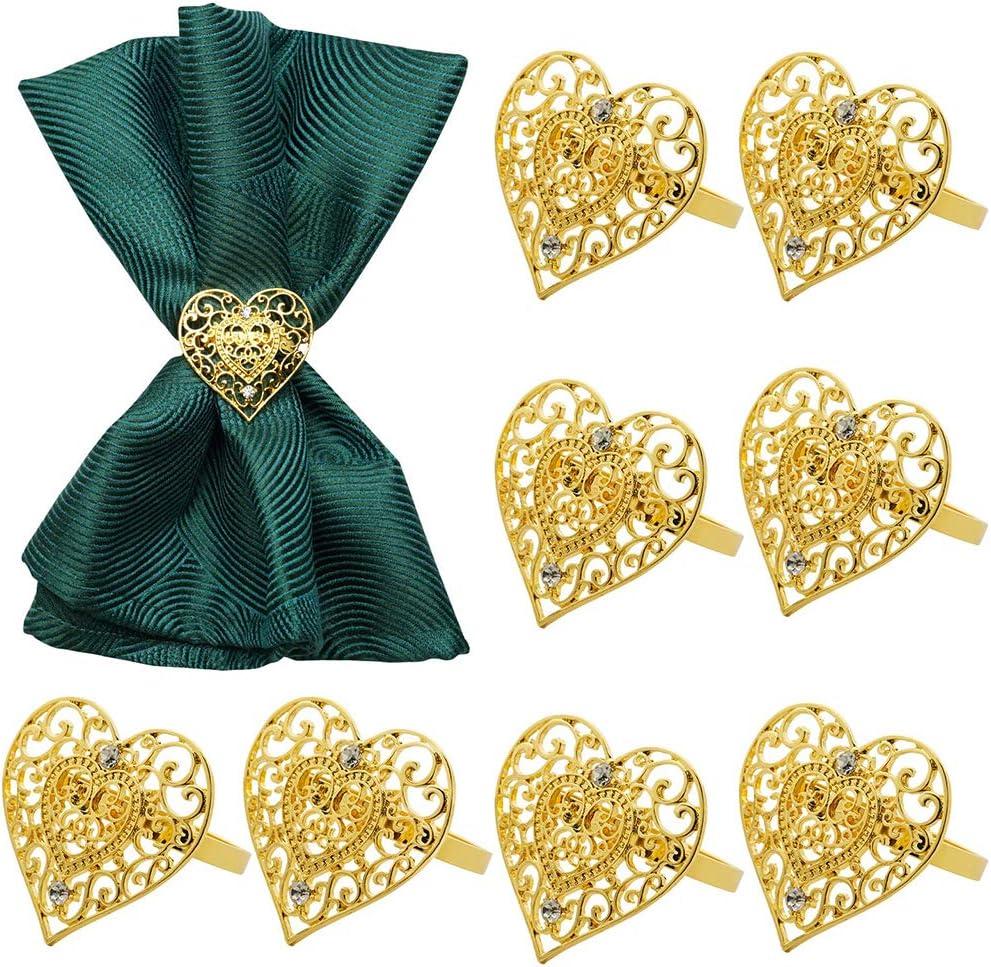 Lunji Servilleteros para el día de San Valentín 8 Piezas, servilleteros con Forma de corazón, Anillo para mesas de Cena
