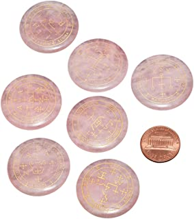 SUNYIK Round Engraved Archangels Gabriel Sigil Talisman Stone Set of 7, Pocket Worry Palm Stones for Healing Reiki Decoration Wicca Amulet, Rose Quartz