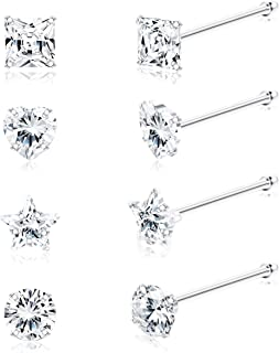 Sllaiss 8Pcs 22G 925 Sterling Silver Nose Rings Studs 3mm Assorted Shapes CZ Inlaid Nose Body Piercing Jewelry Hypoallergenic