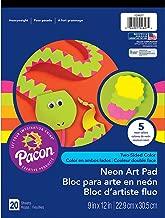 Pacon Art Street Neon Art Paper Pad, 5 Assorted Colors, 9