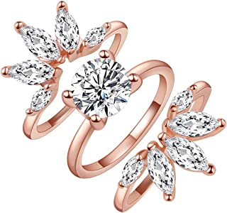 SR Rings Rose Gold Rings 3PCS Enhancers Rings Set Cubic Zirconia Bands Ring Morganite Wedding Engagement Rings Floral Marquise Guard Rings for Women Girl,Size 5-9