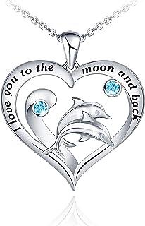 قلادة دولفين للنساء أنا أحبك إلى القمر وقلادة الظهر 925 الفضة الاسترليني الأم ابنة قلادة هدايا عيد الأم لأم النساء زوجة اب...