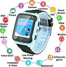 Zqtech Kids Smart Watch GPS Tracker - Nonwaterproof Smartwatches with SOS Voice Chat Camera Math Game Alarm Clock Digital Wrist Watch Smartwatch Girls Boys GPS Locator Blue