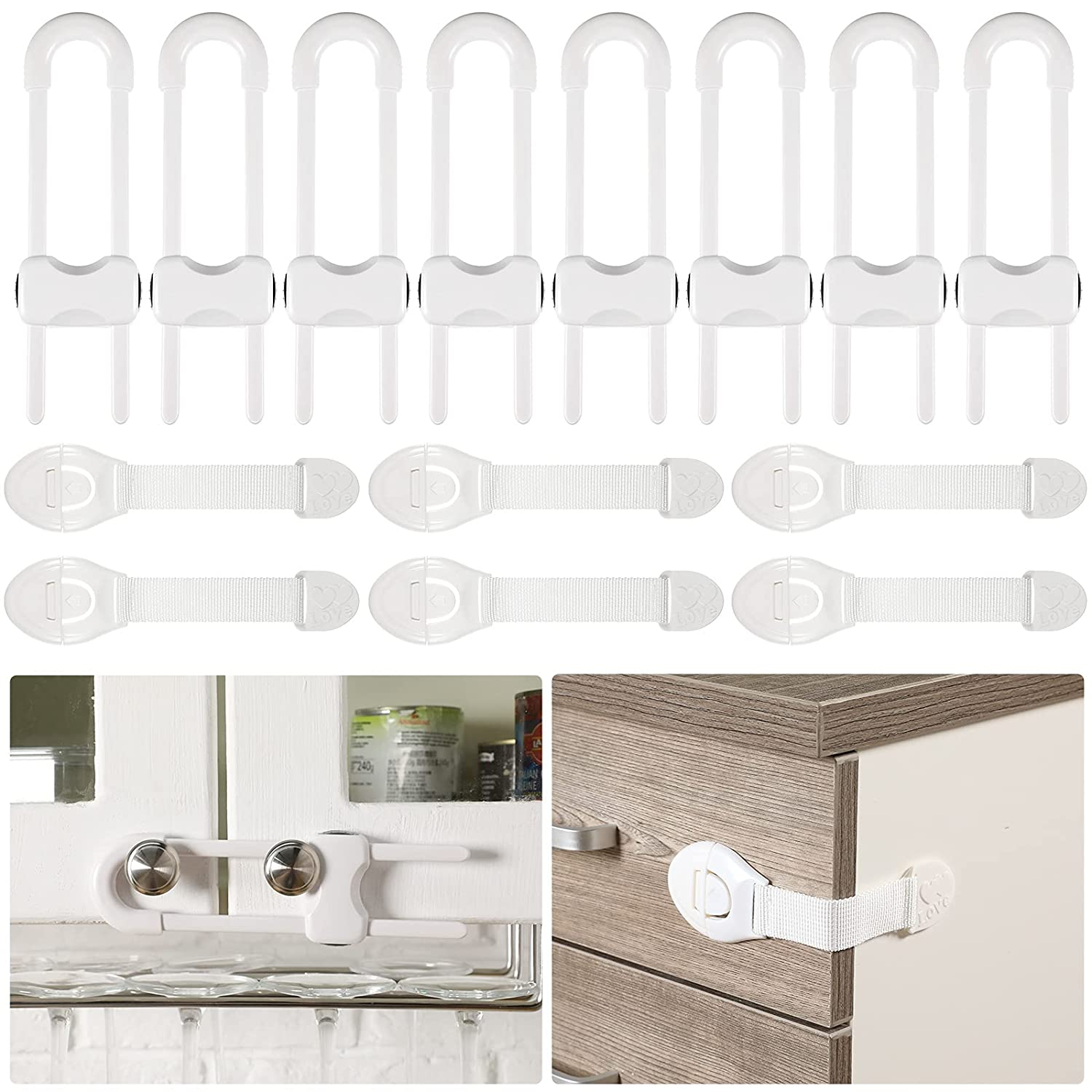 14 Pieces Baby Proofing Cabinet Locks Set U-Shaped Child Safety Sliding Cabinet Locks Kids Safety Strap Lock Easy to Use Child Proof Locks for Cabinets Drawers Refrigerators Dishwashers Handles