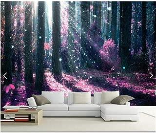 GUDOJK Mural 3D Wall Paper Mural Non-Woven 3D Room Wall Paper Purple Light Forest Trees TV Setting Wall Photo 3D Wall murals Wall paper100150cm