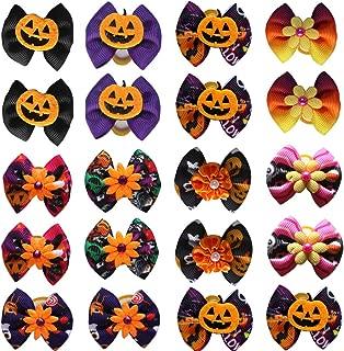 Masue Pets 40pcs/Pack Dog Hair Bows Pumpkin with Rubber Bands Halloween Dog Bows Bowknot Fall Autumn Dog Bows Dog Topknot Bows Pet Grooming Products