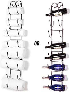 Useful UH-TR221 Wall Mounted Towel and Wine Bottle Rack Holder, Holds 5 or 8 Bottles (Bronze)