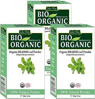 Indus Valley 100% Organic and Natural hair care brahmi powder Set of 3pcs (300gm, Brahmi Powder)
