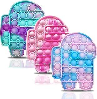 ANGELGGH 3Pcs Tie-dye Push Pop Bubble Fidget Toys، Silicone Stress Relief و ضد اضطراب اسباب بازی حسی برای کودکان و بزرگسالان (Tie Dye-01)