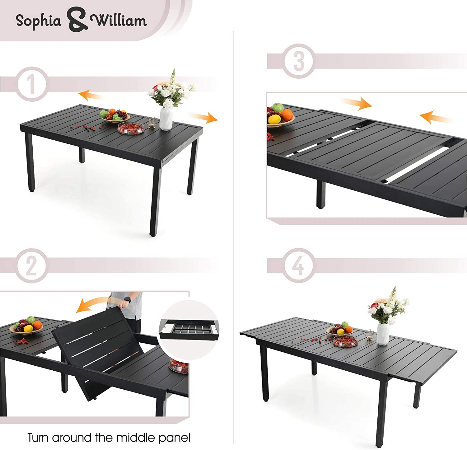 Best for Saving Space: Sophia & William Black Expandable Patio Dining Table.