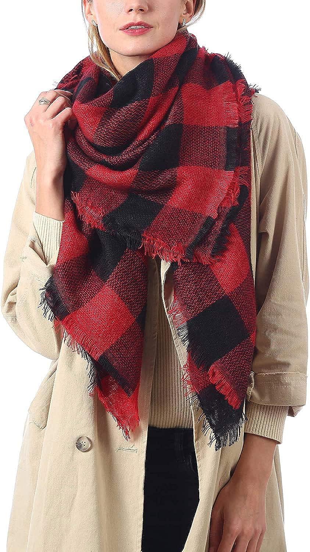 Oversized Blanket Scarf for Women Travel Tartan Wrap Plaid Square Warm Wrap Shawl Scarves