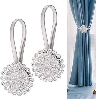 JIZZU 2PCS Magnetic Curtain Tie Backs Pair, Elegant Crystal Curtain Accessories, No Drilling Spring Silver Curtain Tieback...