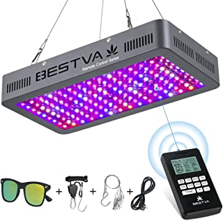 BESTVA Remote Control Series 1500W LED Grow Light, with 4-in-1 Remote Control/Thermometer/Humidity Monitor/Timer, Full Spectrum Grow Lamp for Hydroponic Indoor Plants Veg and Flower(Gray)