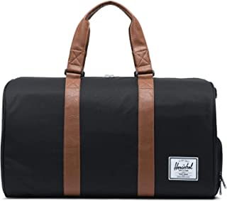 Novel Duffel Bag, Black/Tan Synthetic Leather, Classic 42.5L