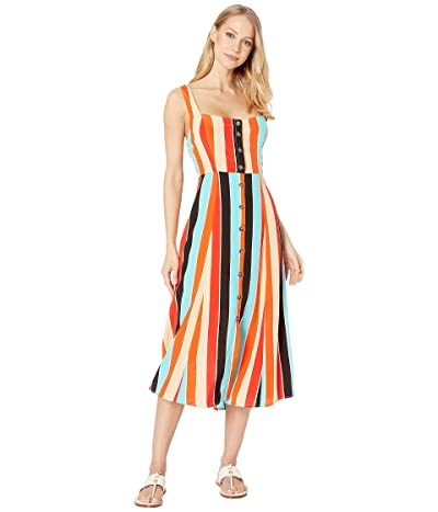 ASTR the Label Charlotte Dress (Aqua/Orange Stripe) Women
