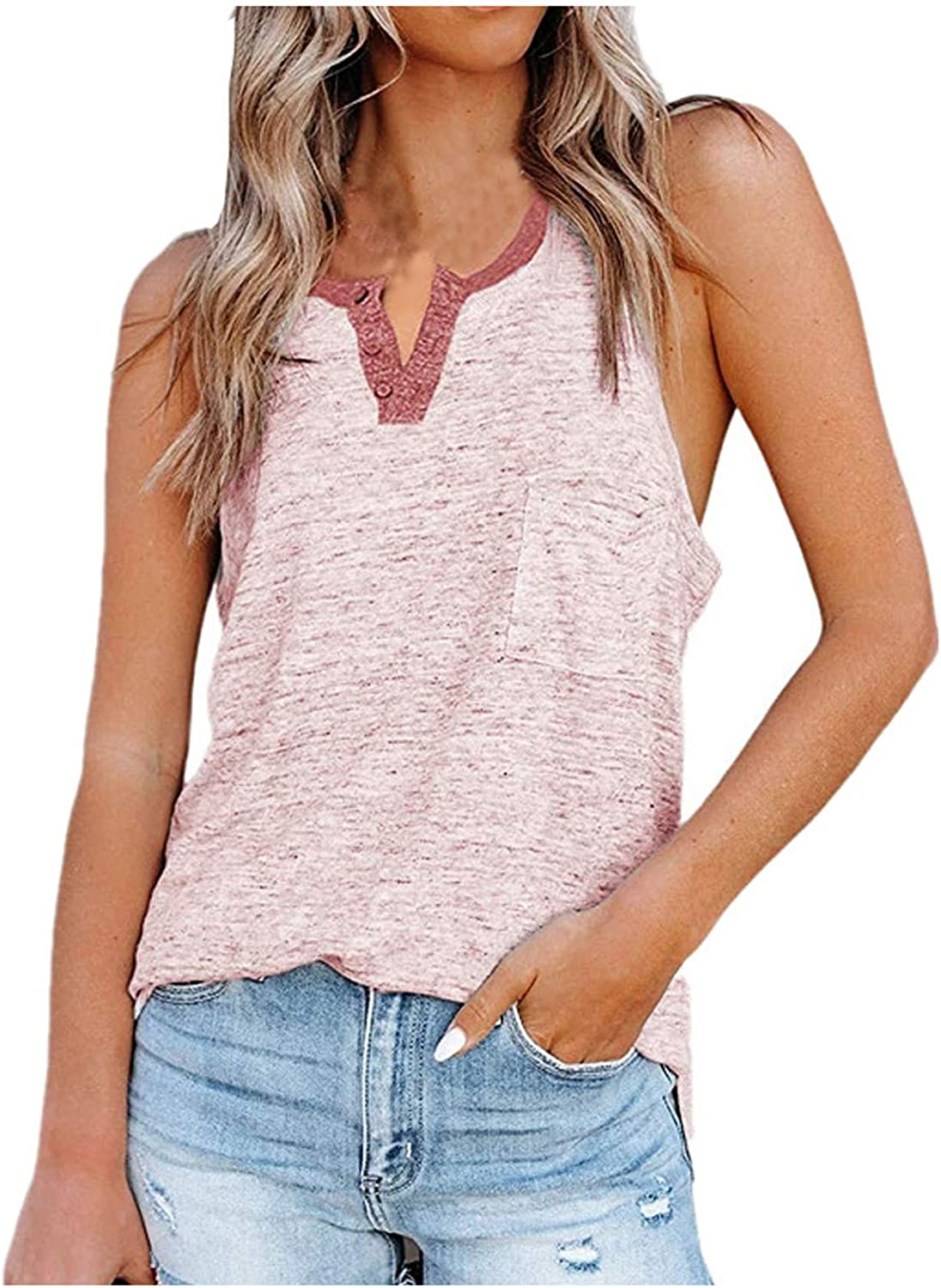 Sayhi Fashion Women''s Loose Shirts Vest Casual Print Pocket Button Solid Color Sleeveless Tops Tank Tops