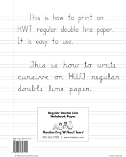 Handwriting Without Tears Double-Lined Notebook Paper, 100 Sheets