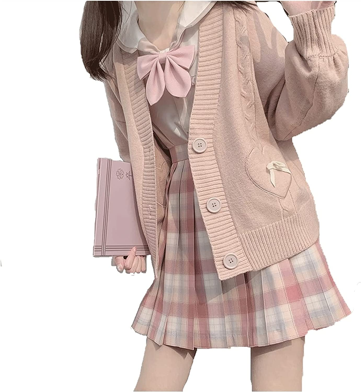 Zzalo Knitted Jacket V-Neck Cardigan Japanese JK Uniform College Wind Jumper Jacket Female (Color : Pink, Size : Large)