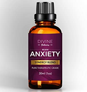 Divine Botanics Anxiety Relief Pure Essential Oil Blend 30ml - Stress relief on the go Aromatherapy Essential oils for Relaxation and Calming - Sweet Orange Ylang Ylang Geranium Lemongrass Mood Boost