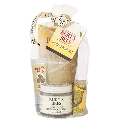 Burt's Bees Hand Repair Gift Set, 3 Hand Creams plus Gloves  Almond Milk Hand Cream, Lemon Butter Cuticle Cream, Shea Butter Hand Repair Cream