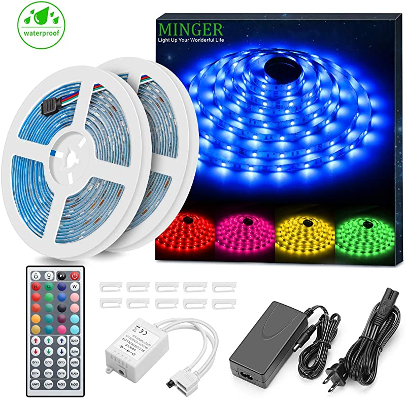 Minger LED Strip Lights Kit Waterproof 32 8ft 5050 RGB 300led Strips Lighting Flexible Color Changing Rope Lights With 44 Key IR Remote Ideal For Room Home Kitchen Party DC 12V 3A UL Listed