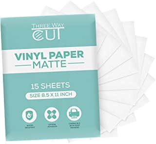 Printable Vinyl Sticker Paper Matte for Inkjet Printer 15 Sheets White, Waterproof Decal Paper Tear & Scratch Resistant Quick Ink Dry, Cricut Sticker Paper for Making Labels & Crafts