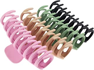 TOCESS Big Hair Claw Clips 4 Inch Nonslip Large Claw Clip for Women and Girls Thin Hair, Strong Hold Hair Clips for Thick Hair, 4 Color Available (4 Packs)