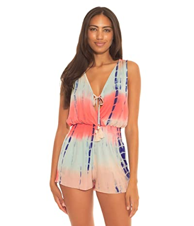 BECCA by Rebecca Virtue Tide Pool Rayon Short Romper Cover-Up (Coral Multi) Women