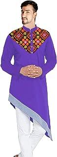 Lakkar Haveli Men's Embroidered Kurta Trail Cut Shirt Casual Tunic Purple Color Plus Size