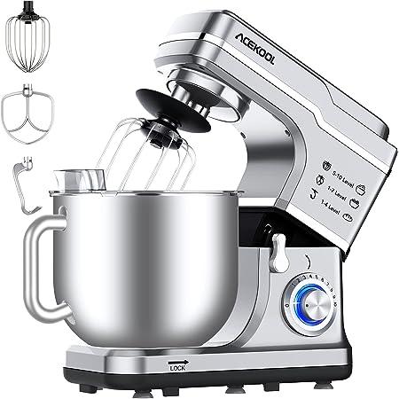 Robot Pâtissier Multifonctions 7L 10 Vitesses Acekool MC1 Pétrin Professionnel 1400W Puissant, Robot de Cuisine avec Batteur, Fouet, Crochet (argenté)