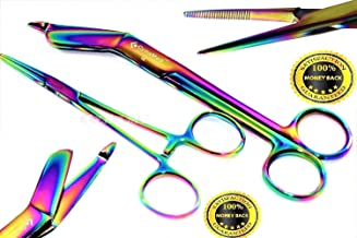 New Premium Lister Bandage Scissors 5.5 inches Plus Hemostat Forceps Straight Multi Color Rainbow Color Stainless Steel Set of 2