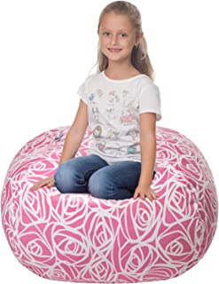 5 STARS UNITED Stuffed Animal Storage Bean Bag - Cover Only - Large Beanbag Chairs for Kids - 90+ Plush Toys Holder and Organizer for Girls - 100% Cotton Canvas Cover - Pink Roses