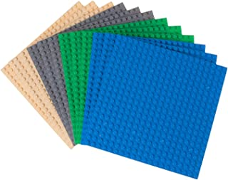 Strictly Briks Classic Baseplates 100% Compatible with All Major Building Brick Brands | Double Sided Stackable Bases | 12 Tight Fit Base Plates in Blue, Green, Gray & Sand 6.25