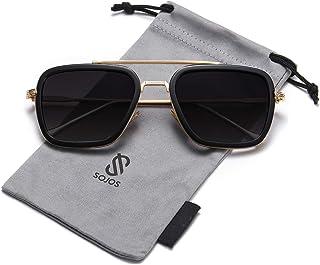 SOJOS Retro Aviator Square Sunglasses for Men Women Goggle Classic Alloy Frame Gradient Flat Lens Hero