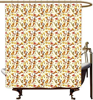 MaryMunger Home Decor Shower Curtain Jazz Music Pattern with Horn Drum Guitar and Fiddlestick Folk Music Ensemble Instruments Bathroom Decoration W72x72L Multicolor