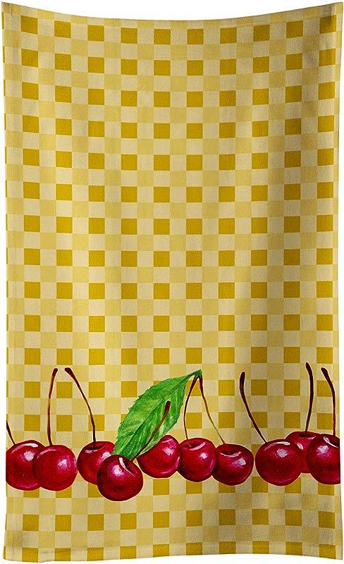 Caroline S Treasures BB7168KTWL Cherries On Basketweave Decorated Dish Towel 25Hx15W Multicolor