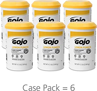 GOJO Crème-Style Hand Cleaner with Pumice, Lemon Scent, 4.5 Pounds Hand Cleaner Canister (Case of 6) - 0915-06