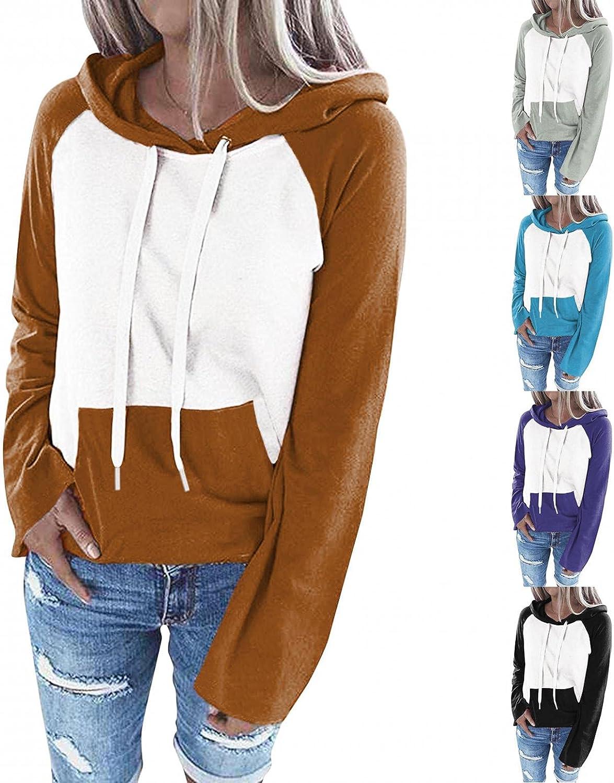 Long Sleeve Hoodies for Women Casual Lightweight Sweatshirt with Kangaroo Pocket Fashion Raglan Shirt Fall Clothes Tunic