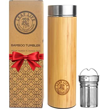 Original Bamboo Tumbler with Tea Infuser & Strainer by LeafLife   17oz Premium Tea Bottle   Vacuum Insulated Travel Tea Mug   Comes with Tea Diffuser For Loose Tea