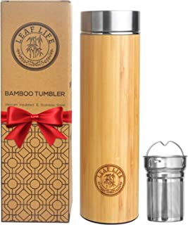 Original Bamboo Tumbler with Tea Infuser & Strainer by LeafLife | 17oz Premium Tea Bottle | Vacuum Insulated Travel Tea Mu...
