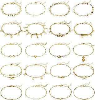 KOHOTA 20Pcs Ankle Bracelets for Women Silver Gold Anklet Set Boho Anklets Bracelets Layered Adjustable Chain Beach Barefoot Foot Jewelry