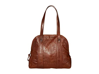 Frye Melissa Domed Zip Satchel (Cognac) Handbags