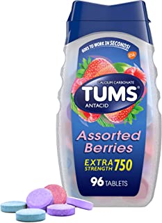 Tums E-X Extra Strength Antacid Chewable Tablets, Berries, 96 Count
