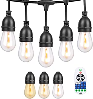 CISLAN Outdoor String Lights 42.3ft Weatherproof IP67 Dimmable LED String Chain with Wireless Remote Control Clear Glass, ...