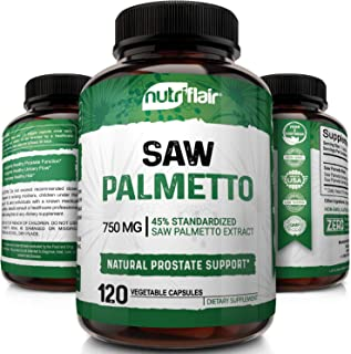 Sponsored Ad - NutriFlair Saw Palmetto Extract 750mg, 120 Capsules - Natural Prostate Supplement & Berry Health Support - ...
