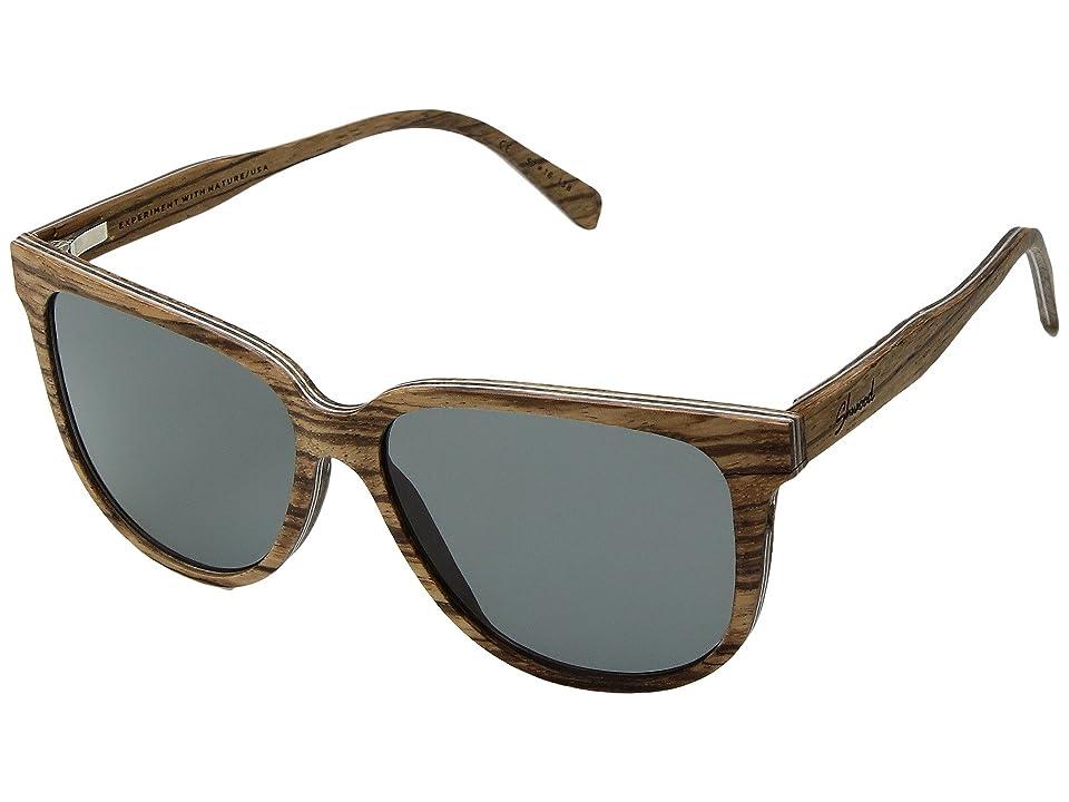 Shwood Mckenzie Wood Sunglasses Polarized (Zebrawood/Grey Polarized) Polarized Sport Sunglasses