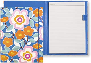 Kate Spade New York Women's Blue Professional Folio with Lined Notepad, Interior Pocket, and Pen Loop, Pop Floral
