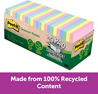 Post-it Greener Notes, Helsinki Colors, Call out Important Information, 3 in. x 3 in, 24 Pads/Pack, 75 Sheets/Pad (654R-24CP-AP)